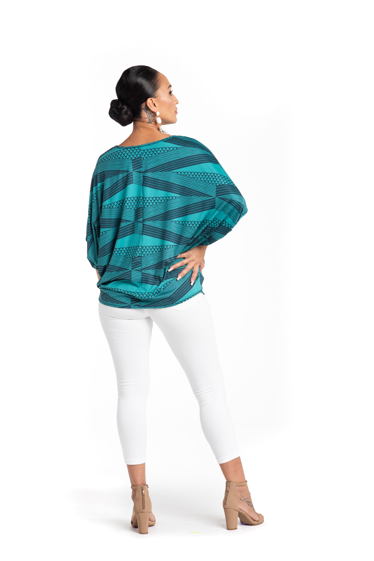 Model wearing Mahalo Nui Shirt in Blue - Back View
