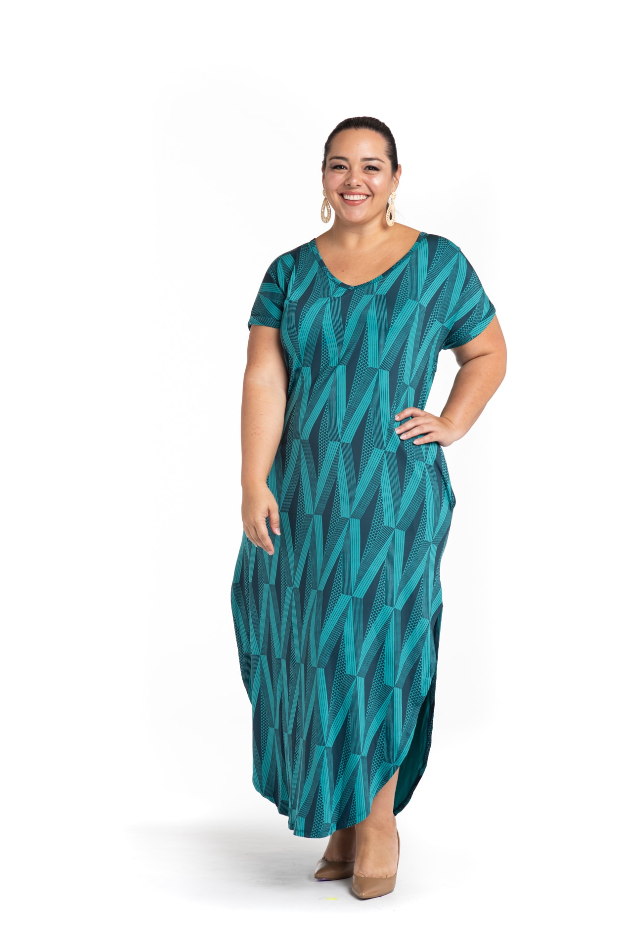 Model wearing Mahalo Nui Dress in Blue - Front View