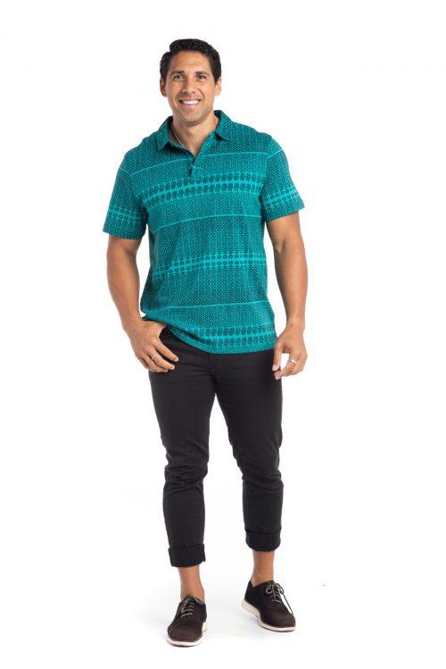 Male model wearing Waikii Polo in Blue Grass/Atlantic Akoakoa - Front View