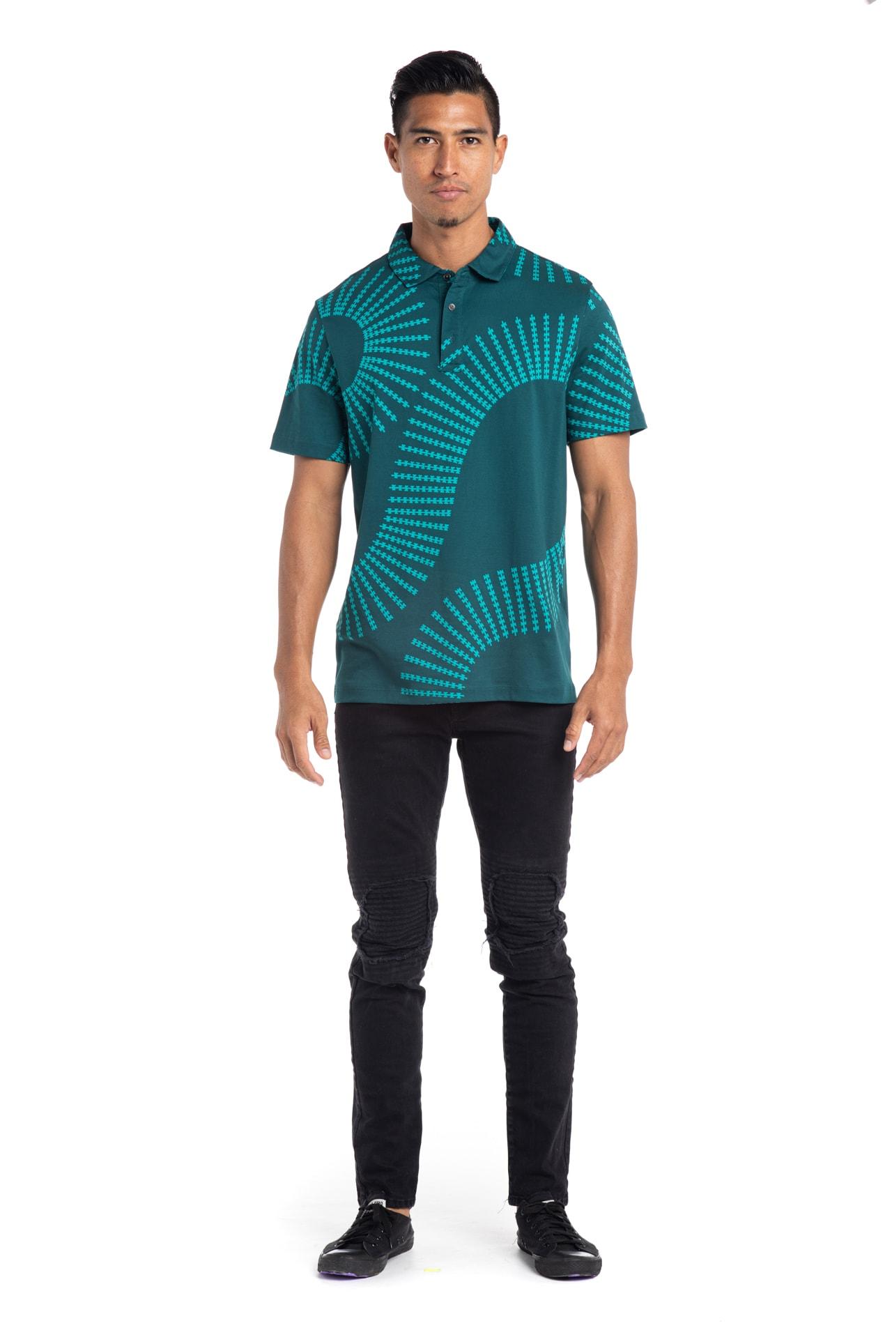 Male model wearing Waikii Polo in Blue Grass/Atlantic - Front View