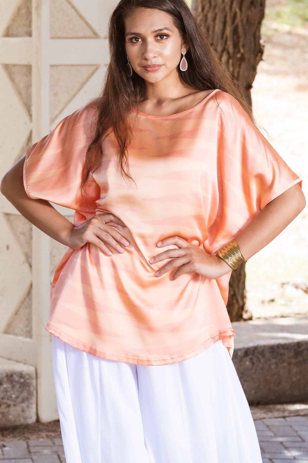 Model wearing Ohelo Top