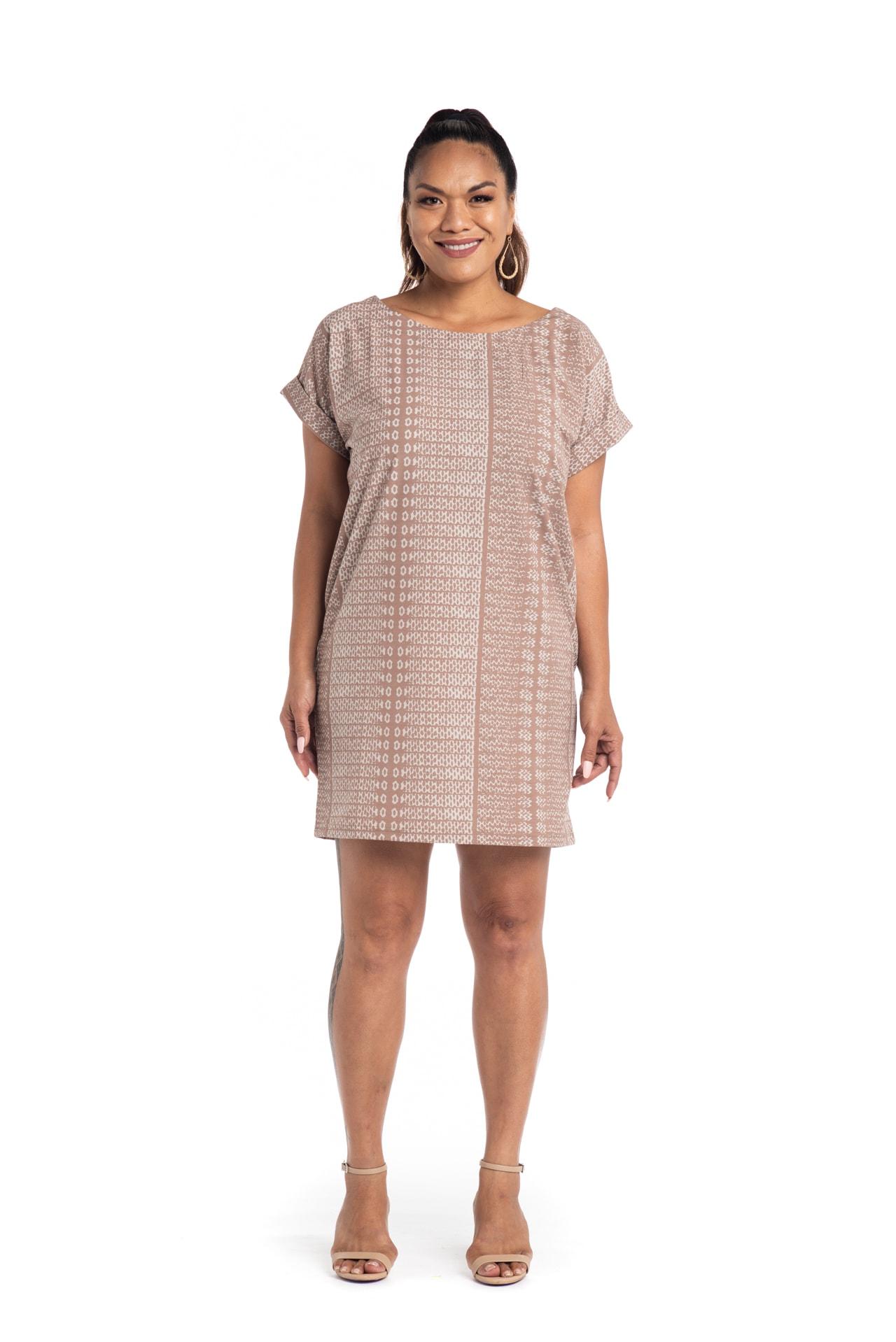 Model wearing Puaniu Shift Dress in Brown AkoaAkoa - Front View