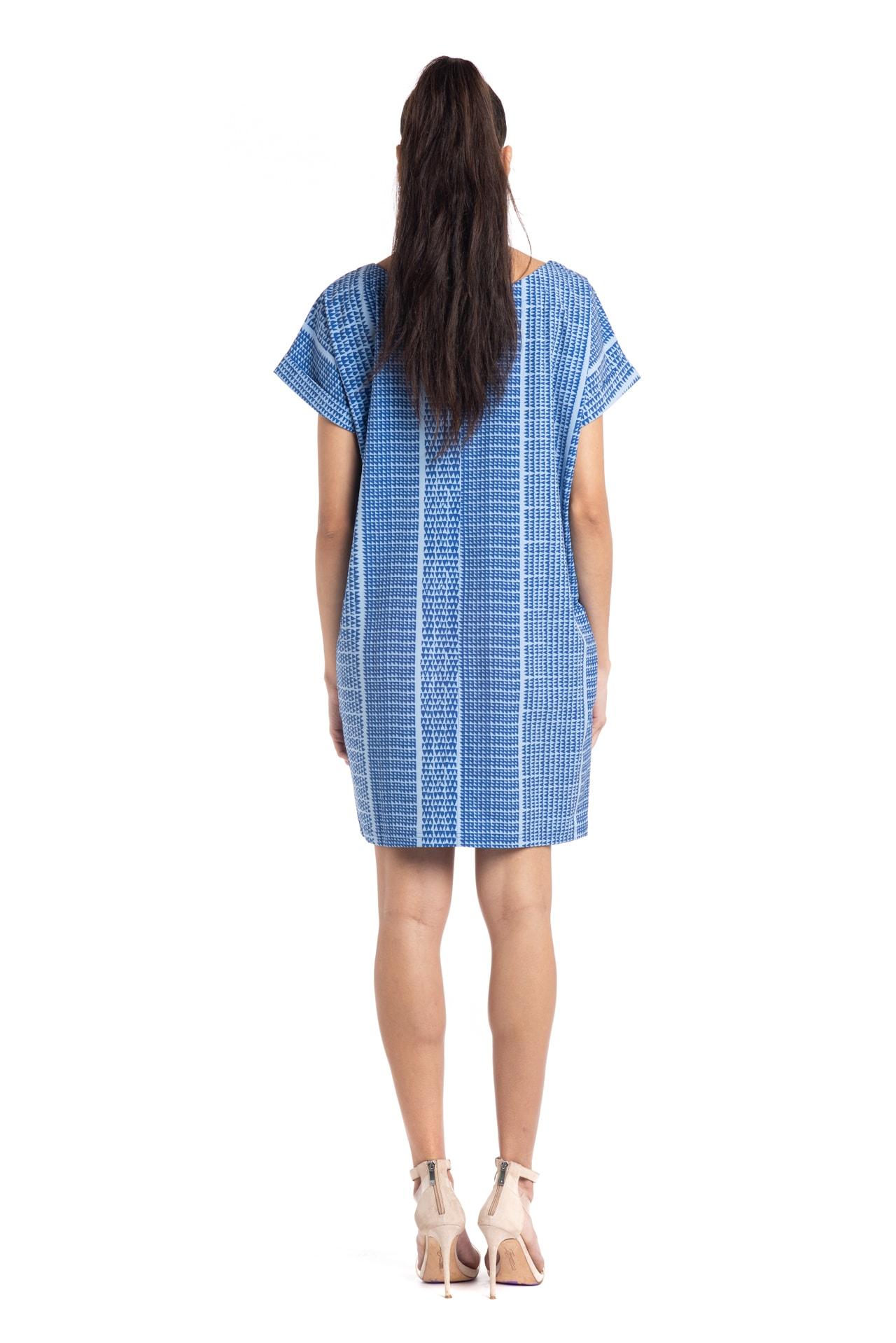 Model wearing Puaniu Shift Dress in Blue Niho Ku - Back View