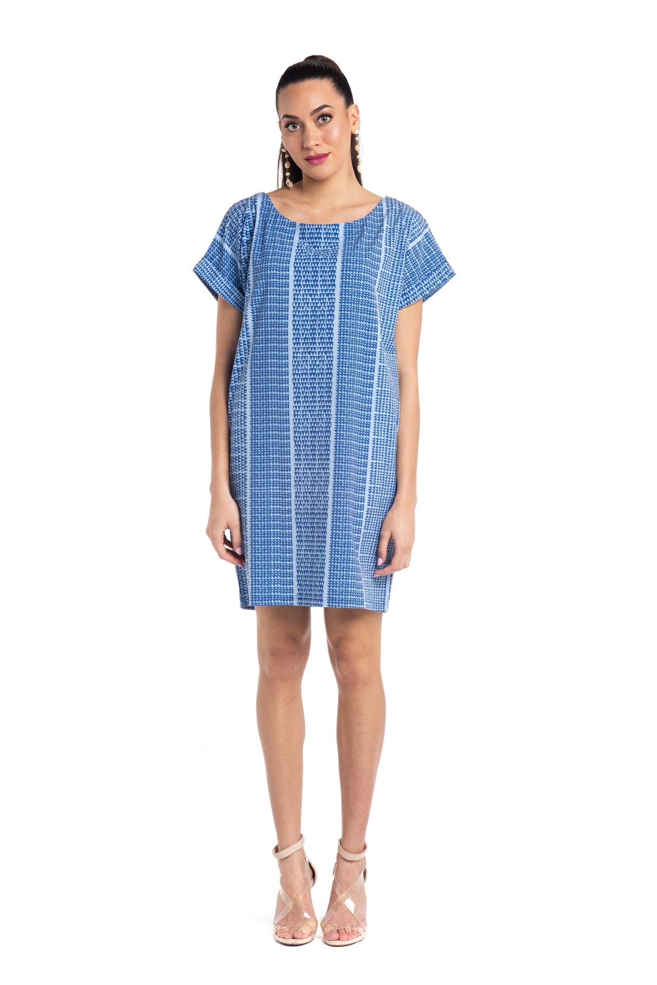 Model wearing Puaniu Shift Dress in Blue Niho Ku - Front View