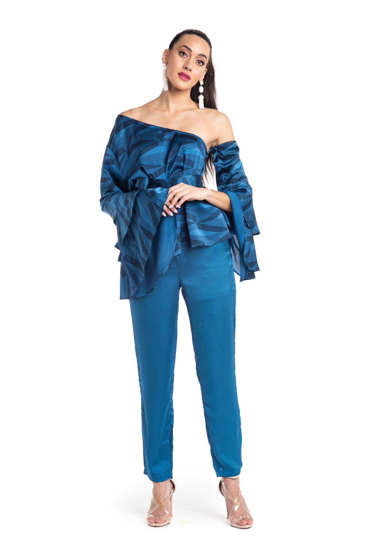 Model wearing Venus Top in Blue - Front View