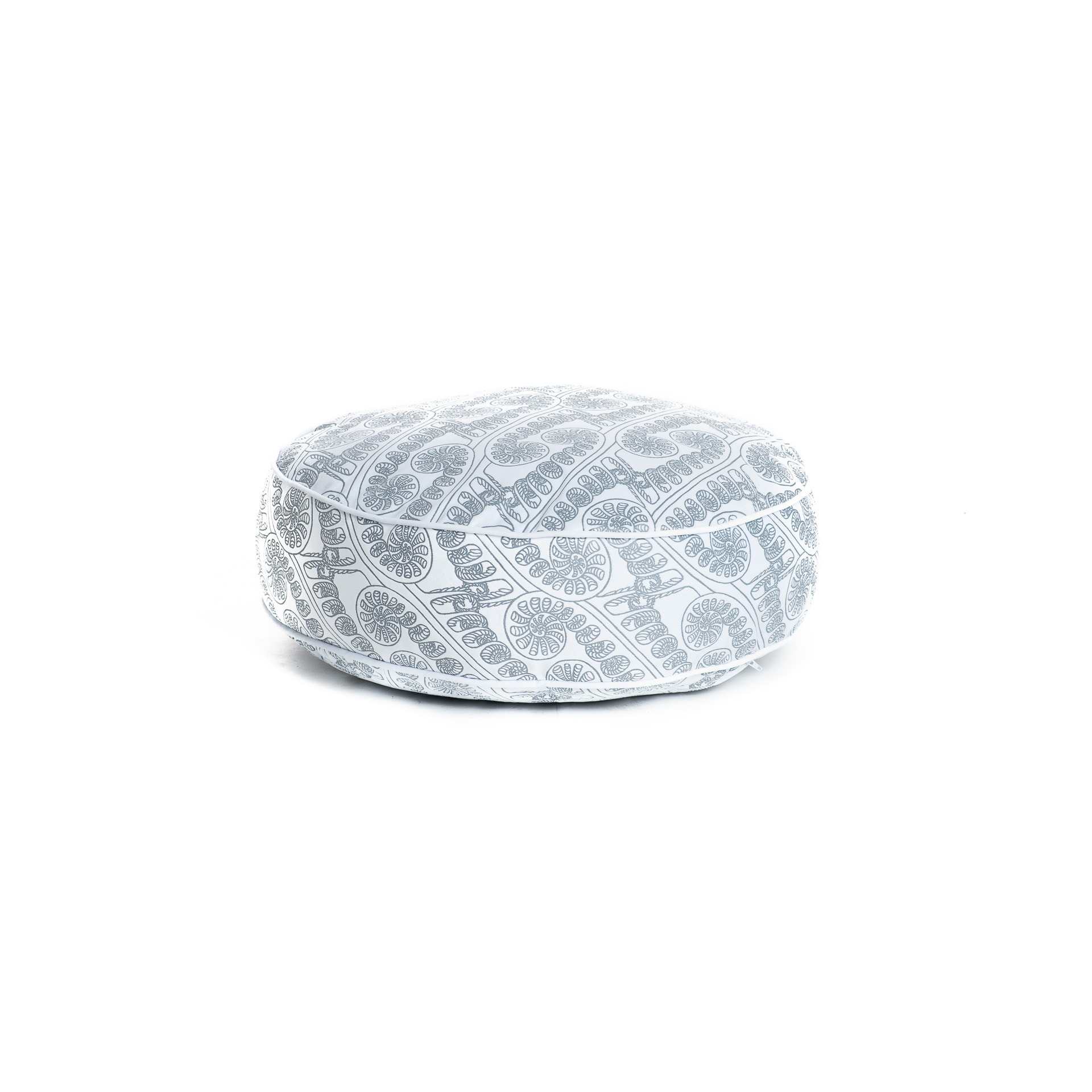 Circle Tuft Pillow in Folkstone Grey/Halogen Blue