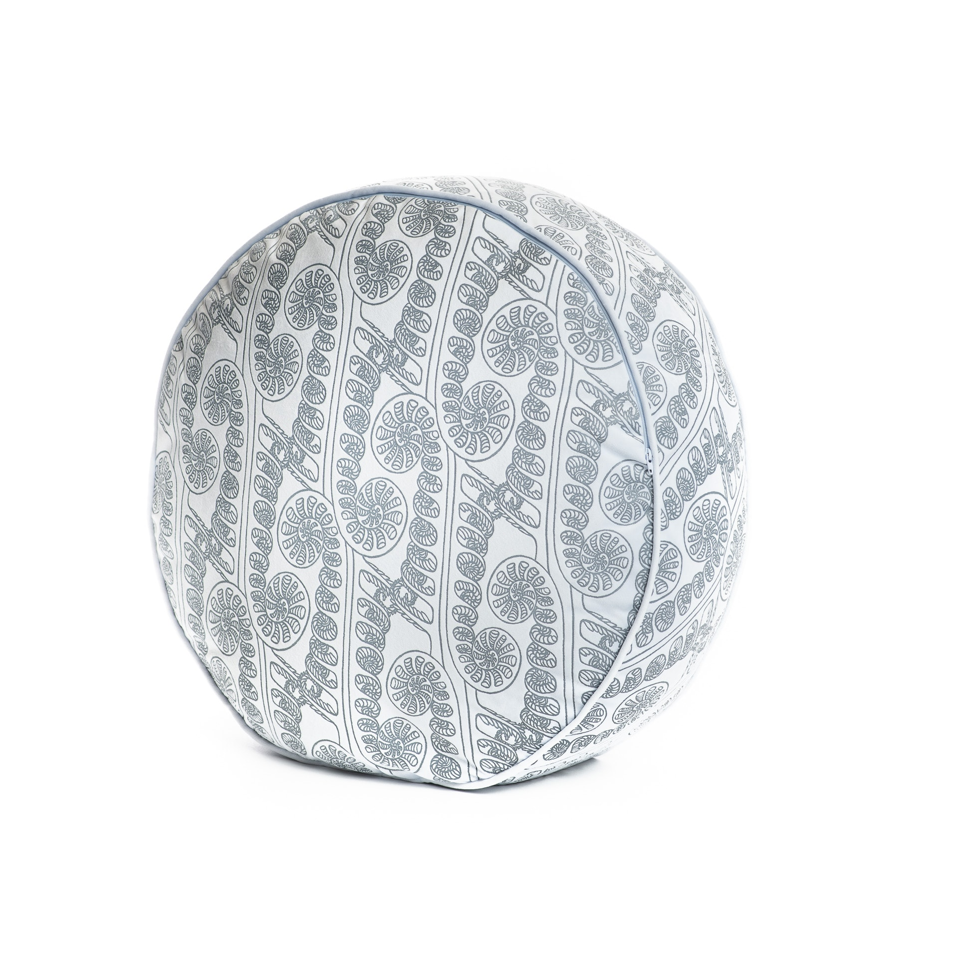 Circle Tuft Pillow in Folkstone Grey/Halogen Blue - up