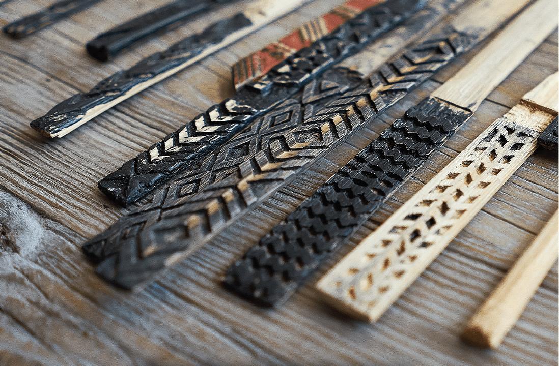 Manaola Patterns on wooden sticks