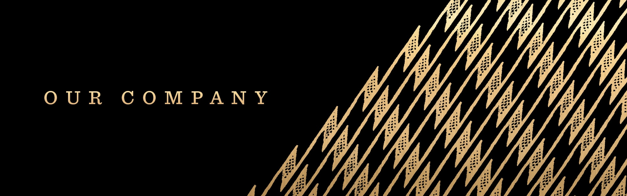 Our Company Header - Gold Print and Black Background