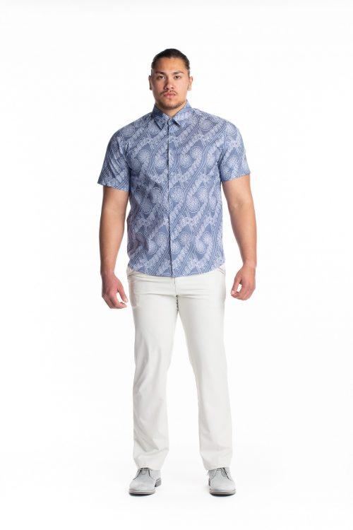 Male model wearing Aloha Short Sleeve in Amau Blue - front view