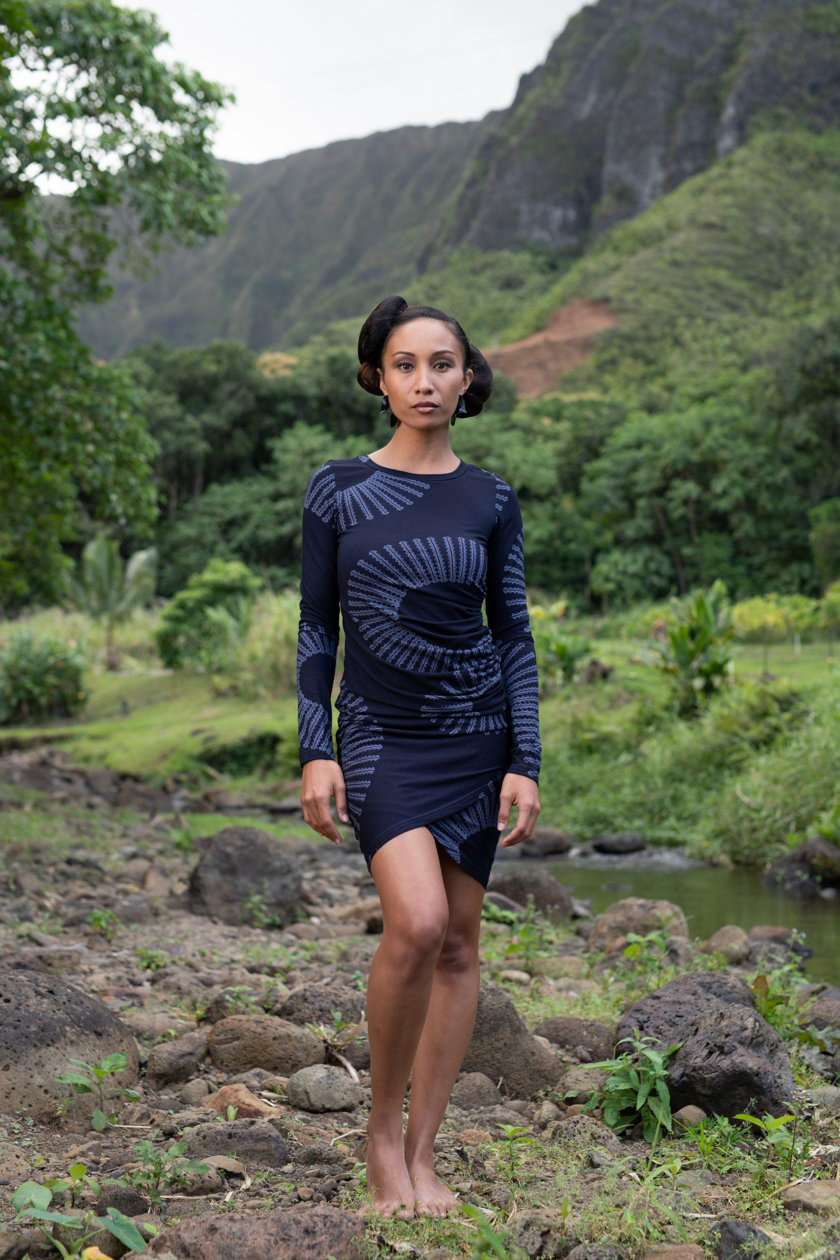 Model wearing Waimeli Dress in Deep Well/Folkstone Grey Lalani Kalalea - Front View