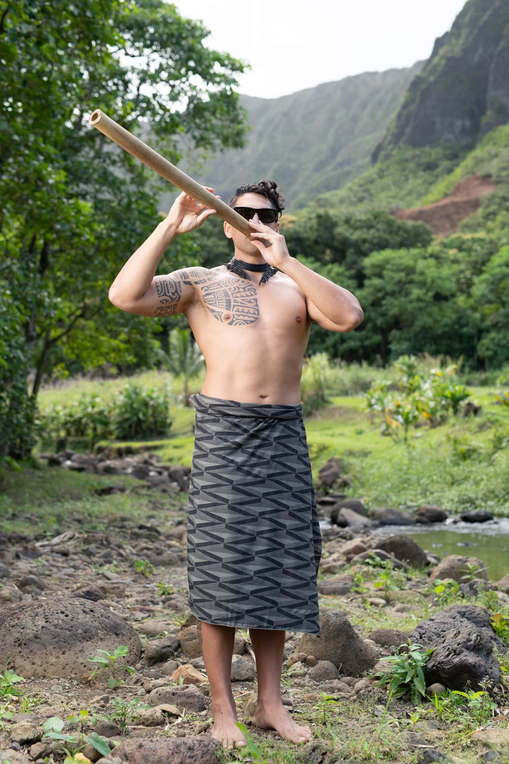 Male model wearing Pareo outside