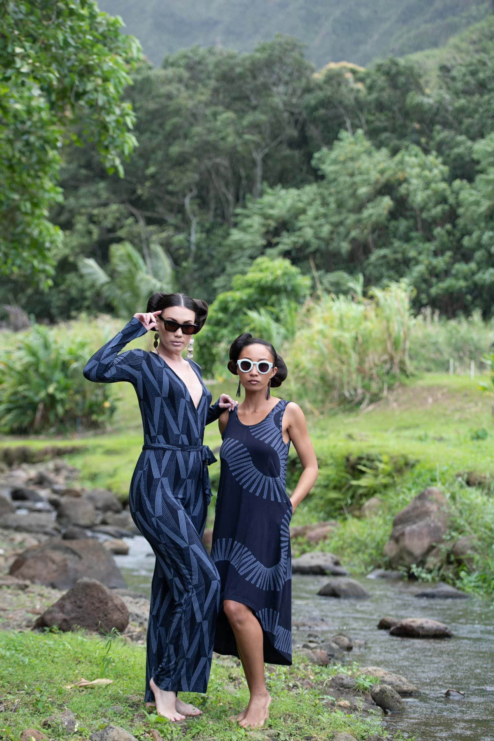 Model wearing Pualahaole Hi Low Dress in Deep Well/Folkstone Grey Lalani Kalalea - Front View