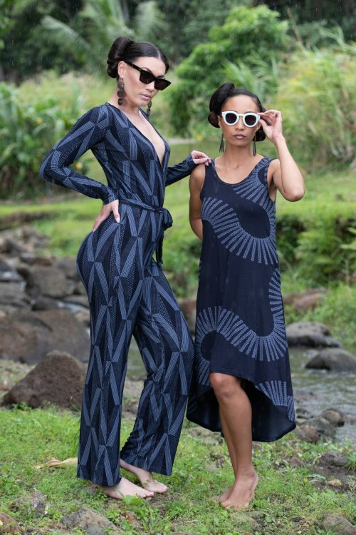 Model on the left wearing Kaimana Jumpsuit in Deepwell/Folkstone Grey Kanaola
