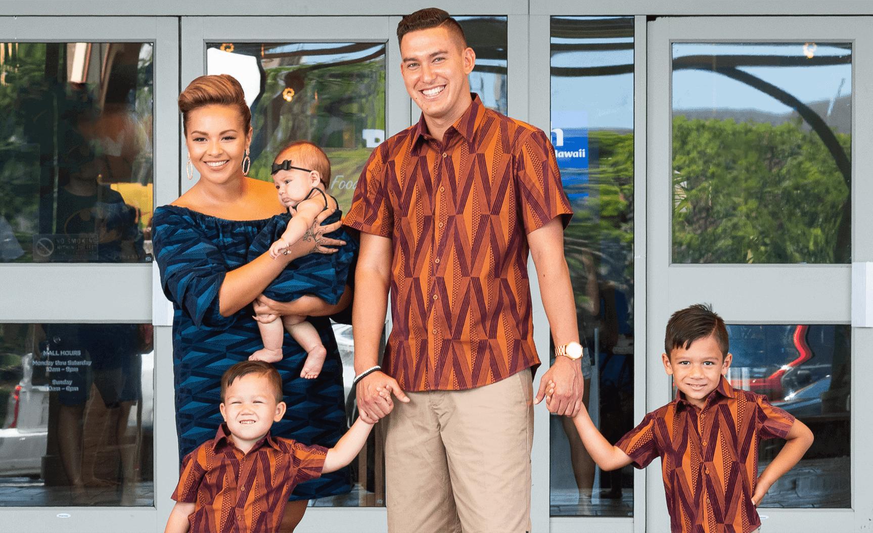 Family wearing Manaola Clothing