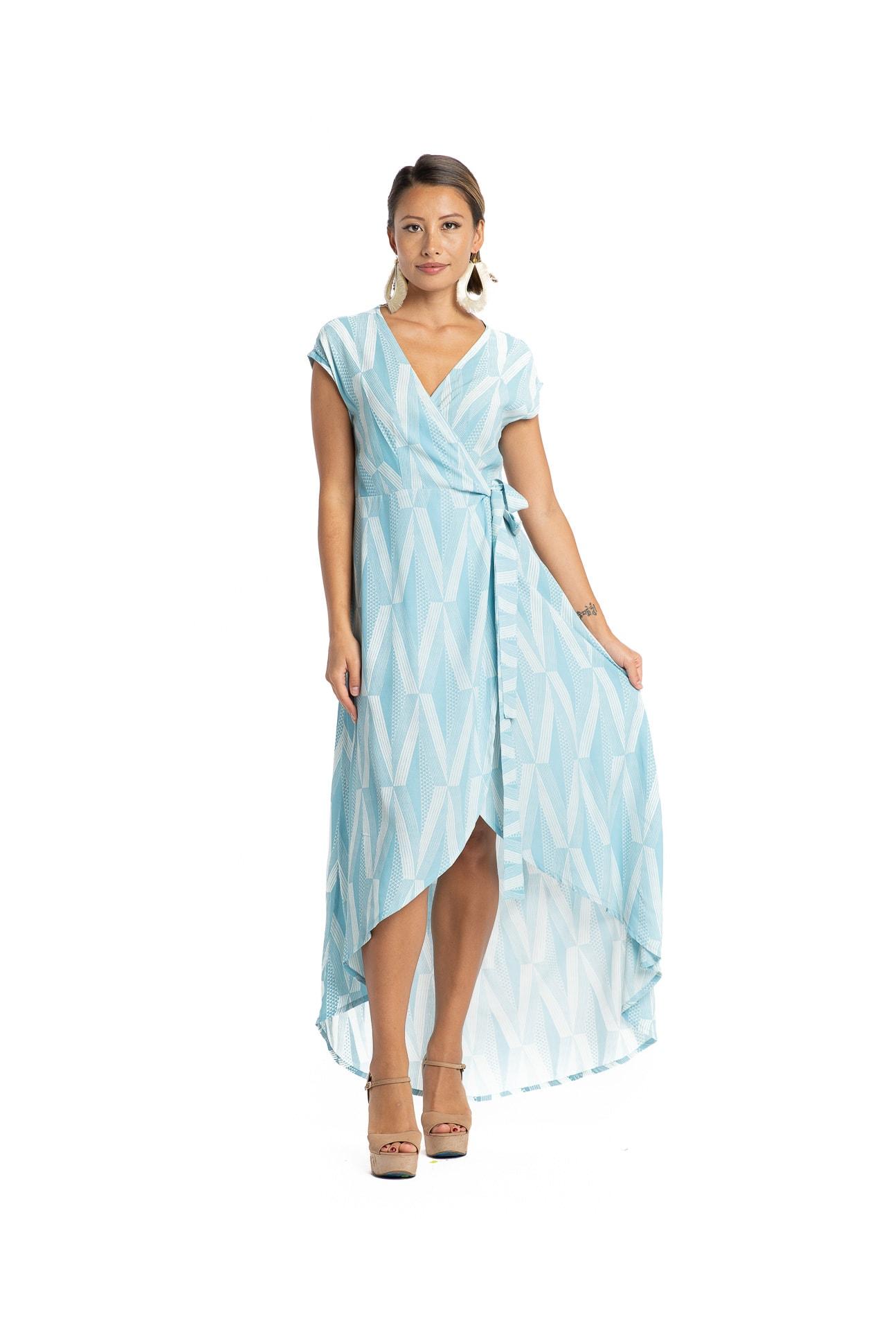 Model wearing Panana Wrap Dress