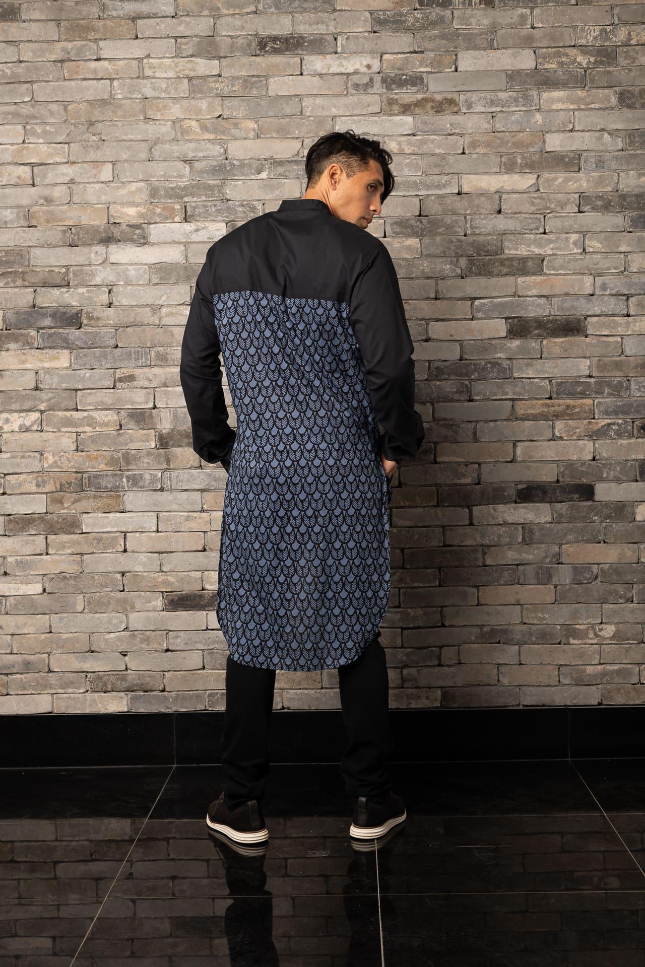 Male Model wearing Mandarin Tunic - Back View
