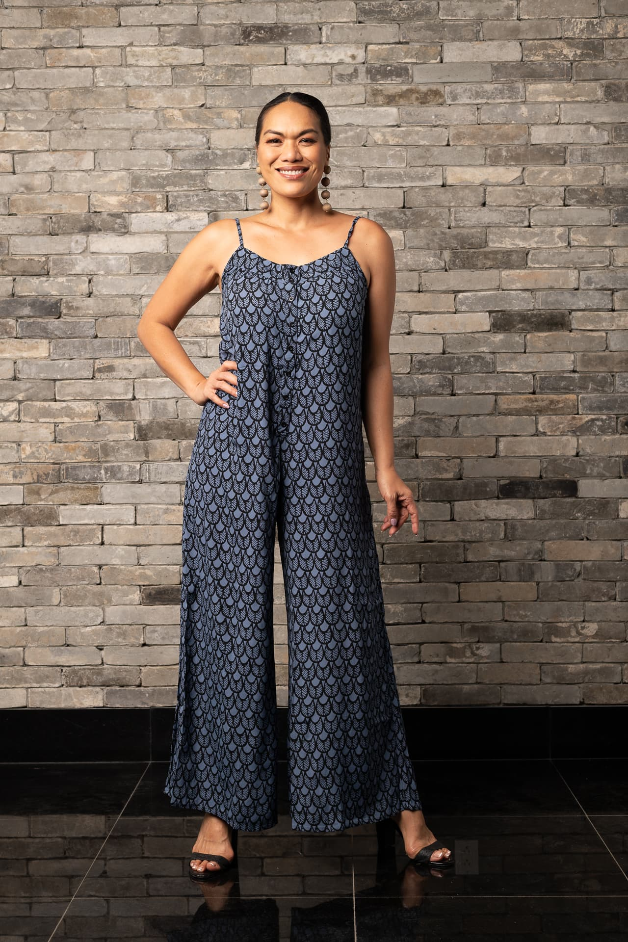 Model wearing Hala'ula Jumpsuit