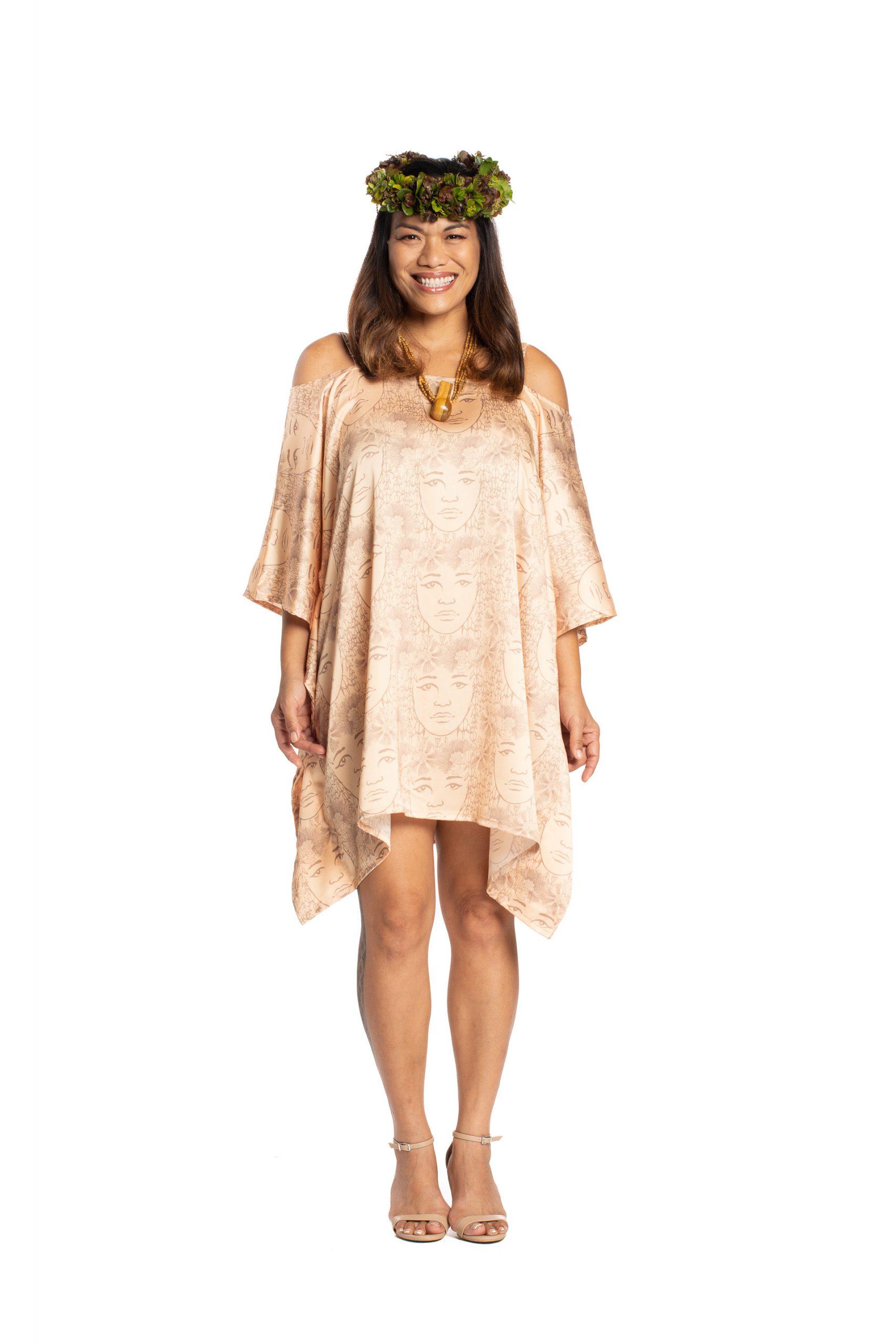 Model wearing Malalama Top in Apricot Sherbert/Gingersnap - Front View