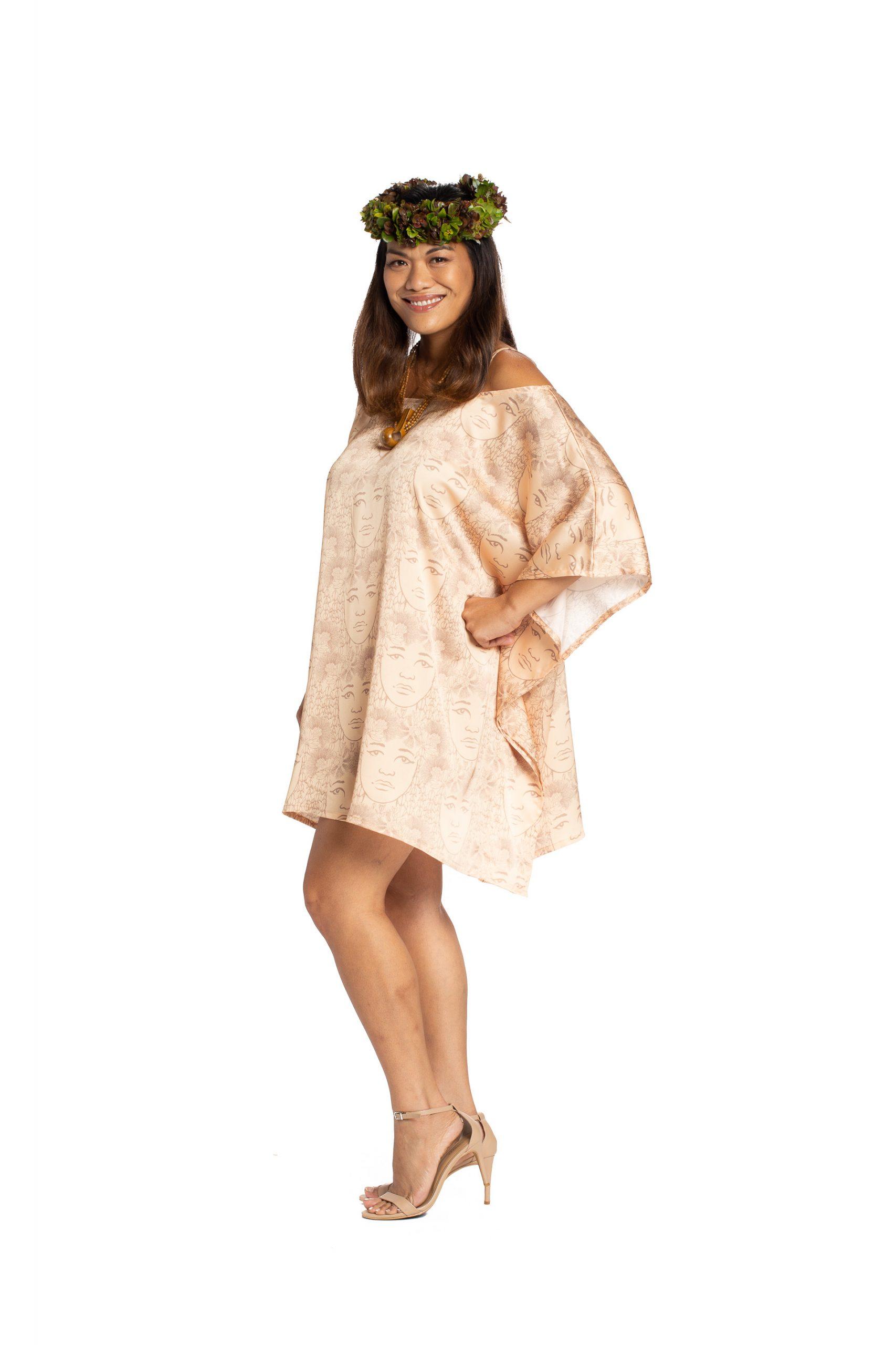 Model wearing Malalama Top in Apricot Sherbert/Gingersnap - Side View