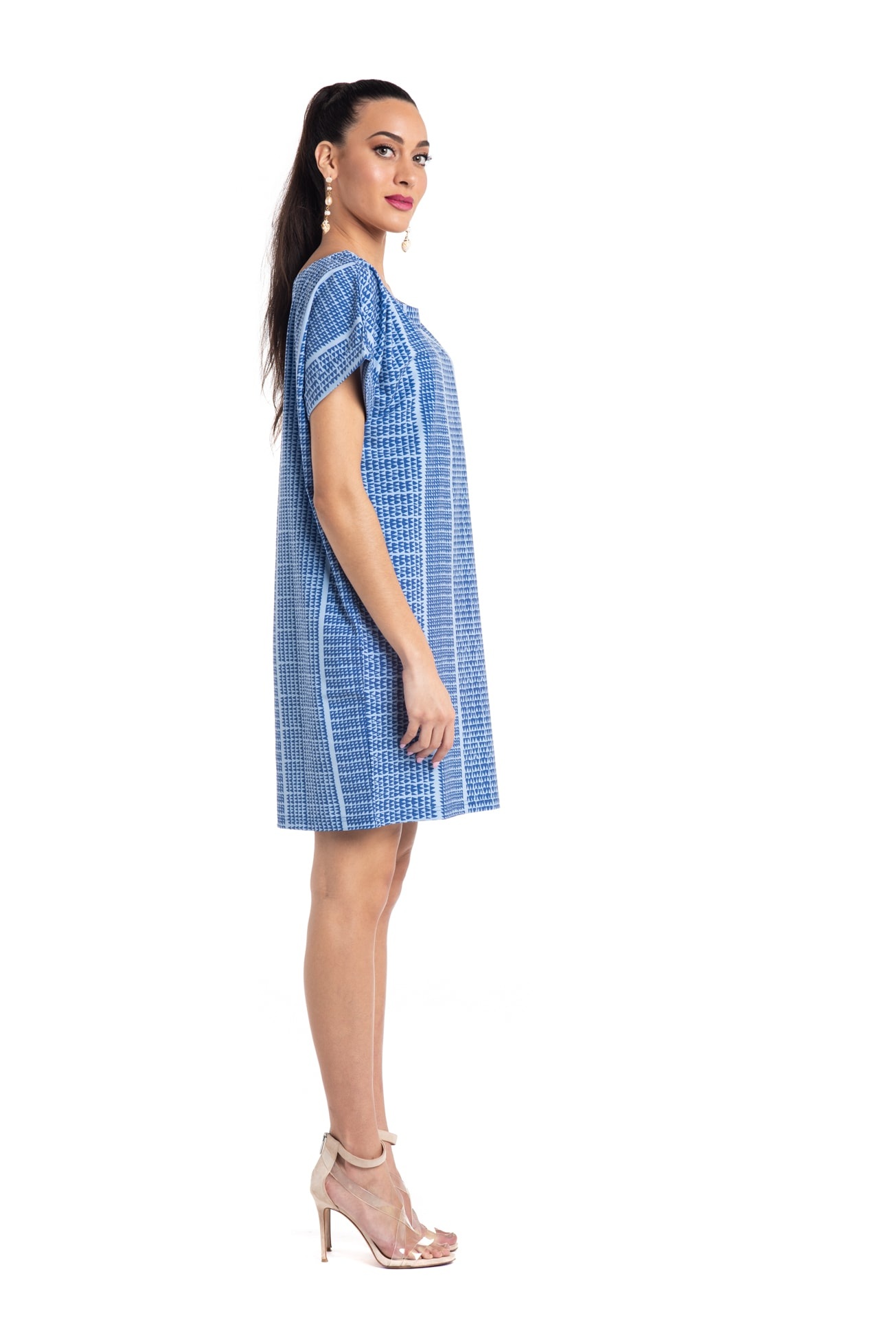 Model wearing Puaniu Shift Dress in Blue - Side View