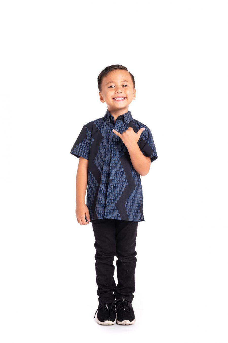 Boy wearing Keiki Mahalo Shirt S-S - Front View