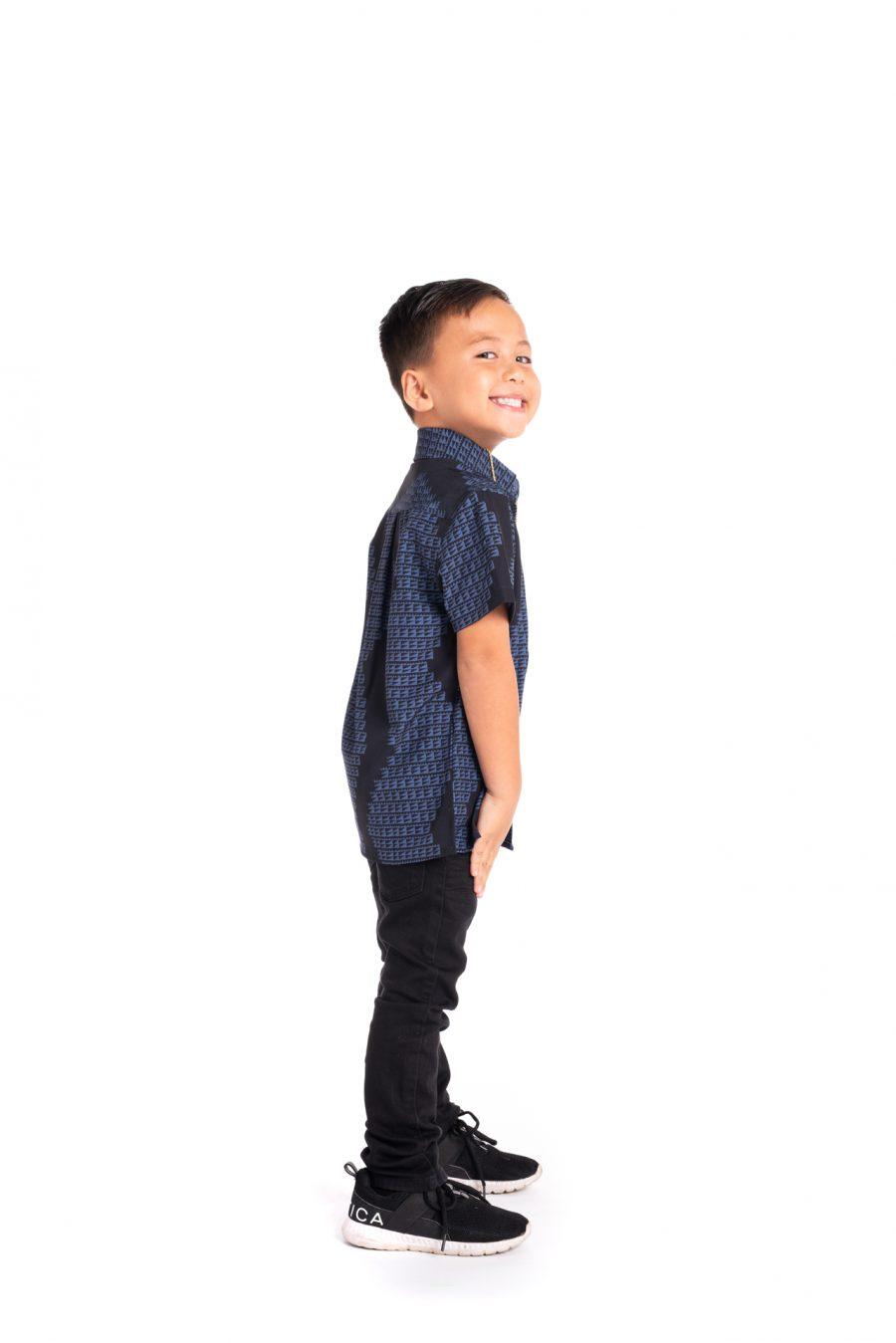 Boy wearing Keiki Mahalo Shirt S-S - Side View