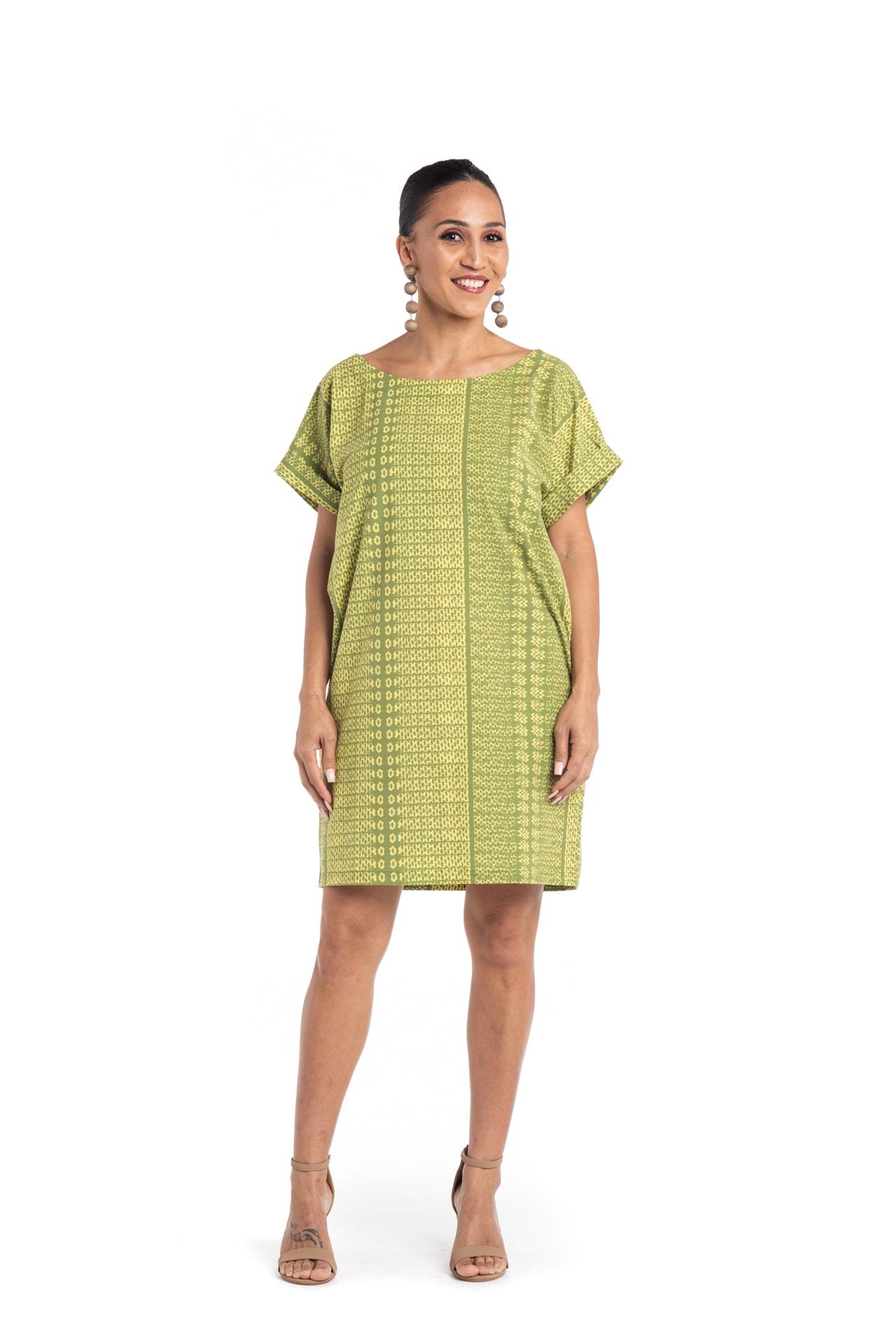 Model wearing Puaniu Shift Dress in Green - Front View