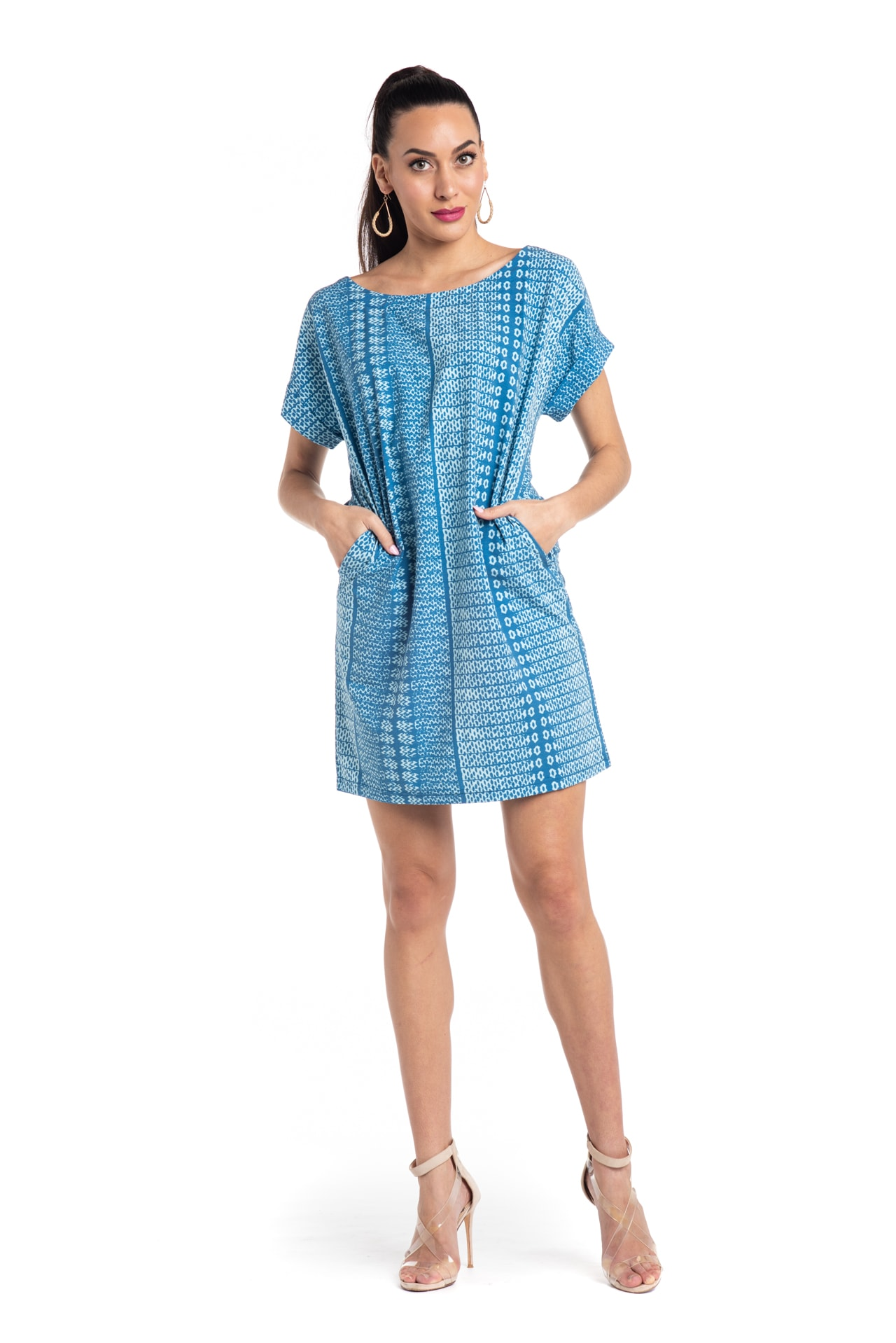 Model wearing Puaniu Shift Dress in Light Blue - Front View
