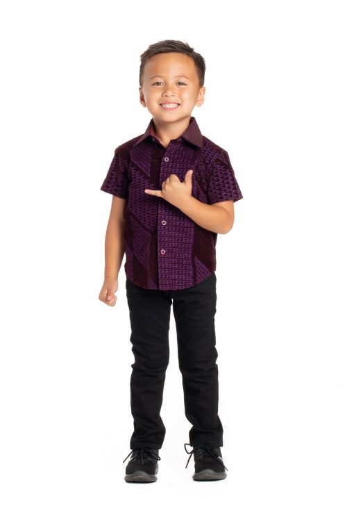 Boy wearing Keiki Aloha Short Sleeve in Purple Kamehameha - Front View