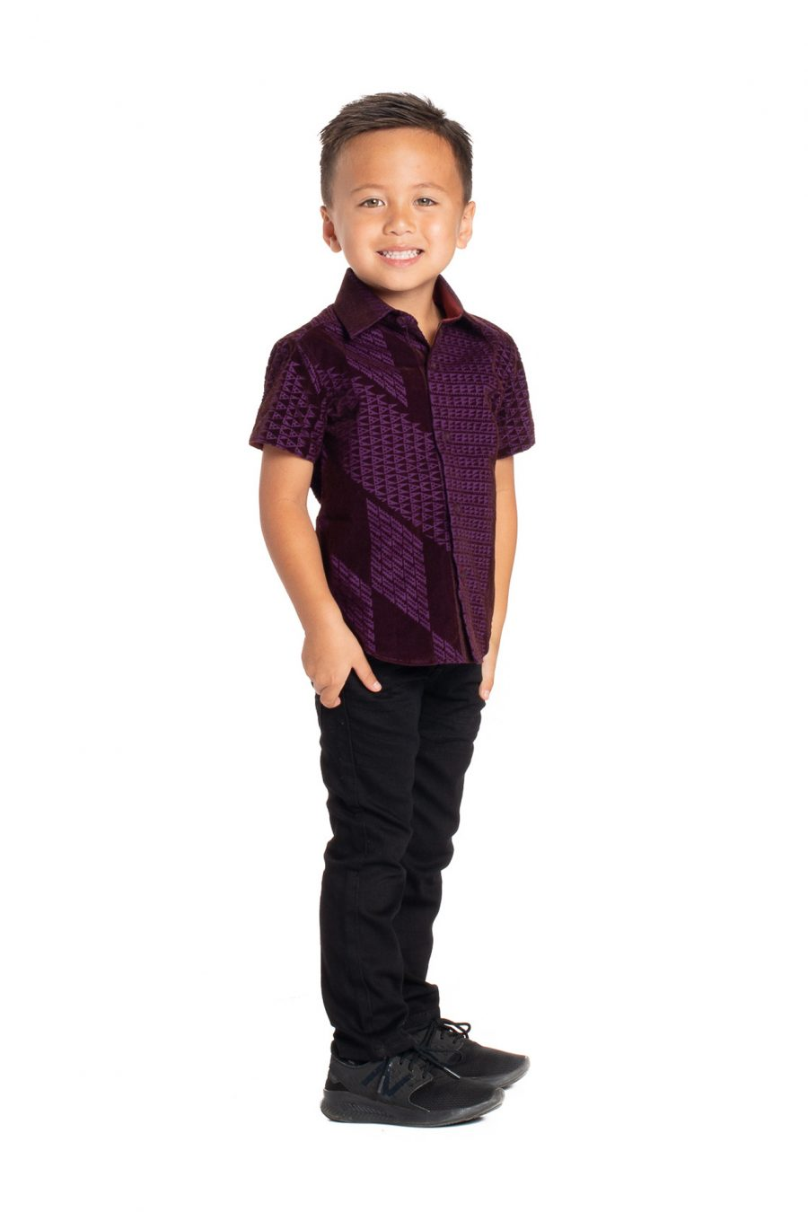 Boy wearing Keiki Aloha Short Sleeve in Purple Kamehameha - Side View