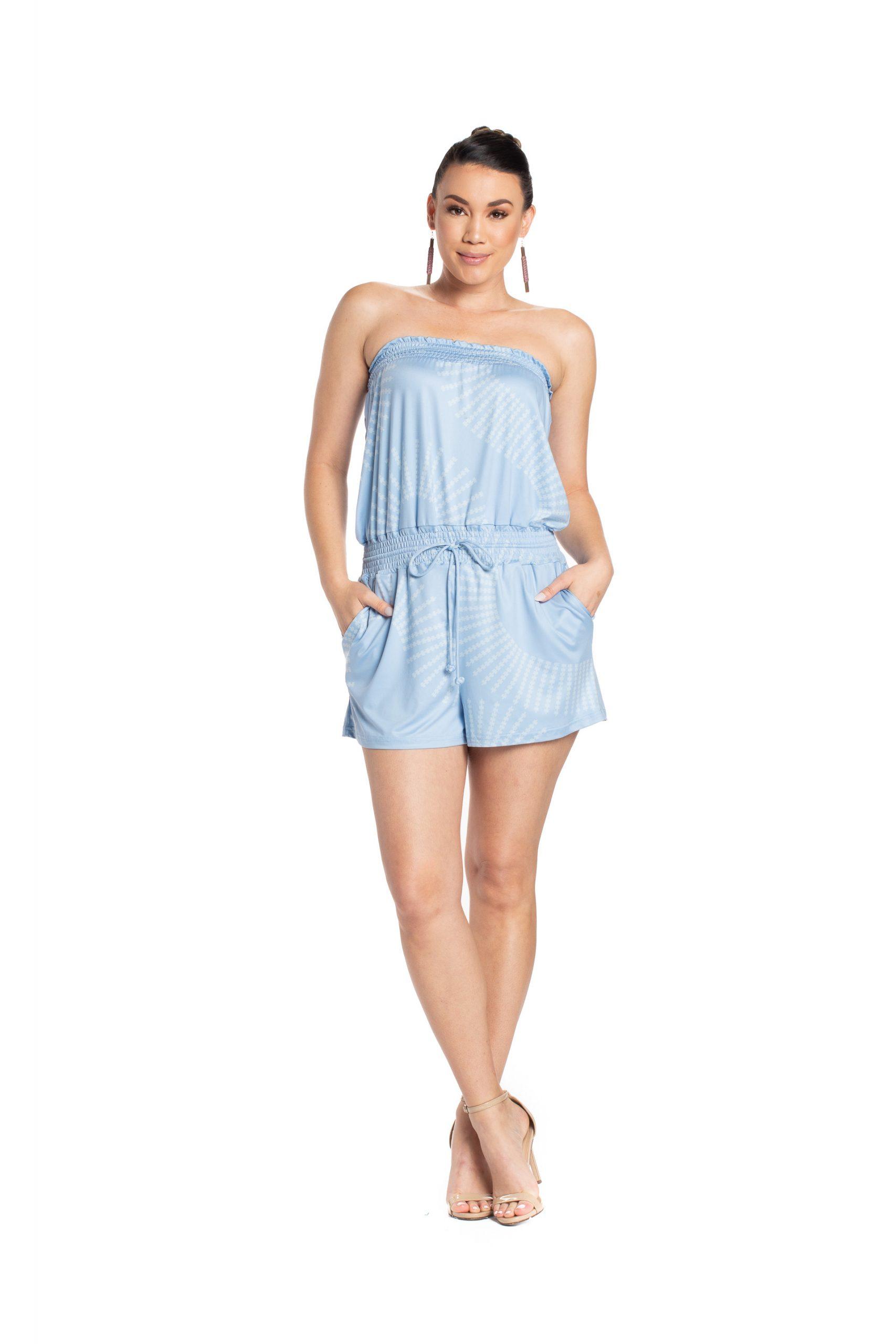 Model wearing Pakalana Romper in Pewa Celestial/Illusional Blue