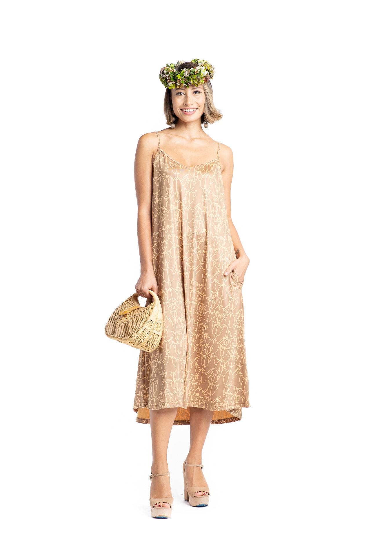 Model wearing Puanani Maxi Dress in Ginger Snap/Apricot Sherbert Kapualiko