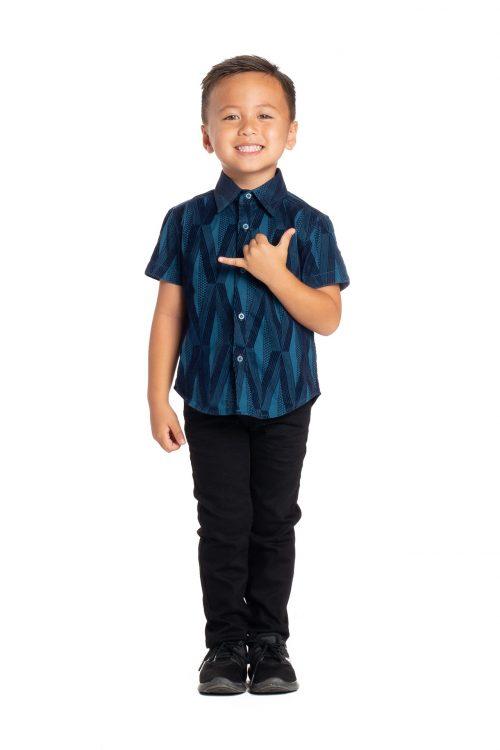 Boy wearing Keiki Aloha Short Sleeve in Teal Kanaloa - Front View