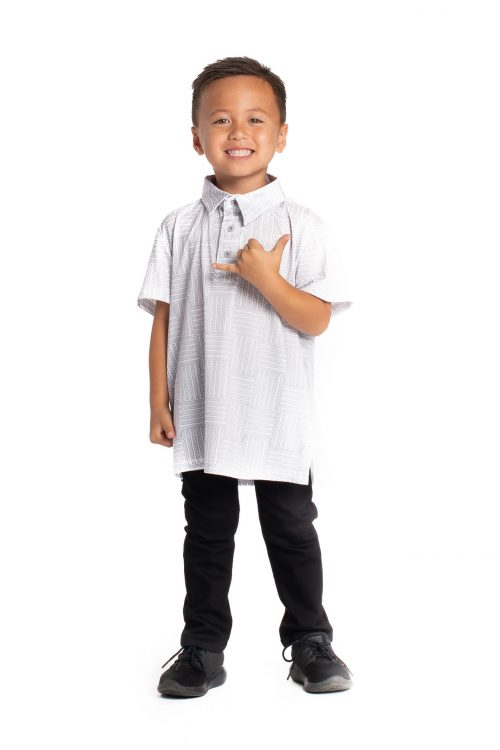 Boy wearing Keiki Aloha on the Green in Blance De/Lilac Grey Ulana - Front View