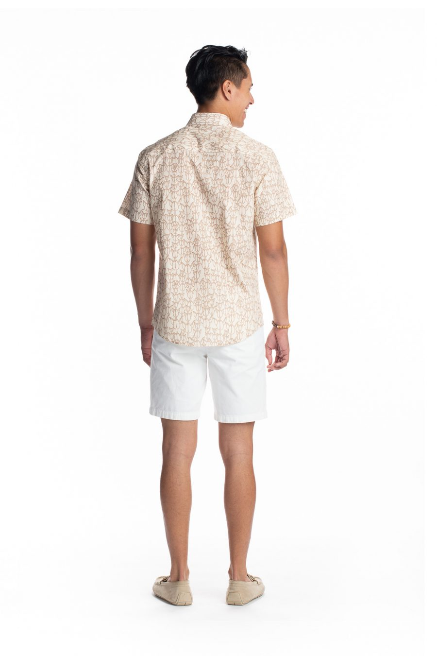 Male model wearing Aloha Short Sleeve in White Swan/Gingersnap - Back View