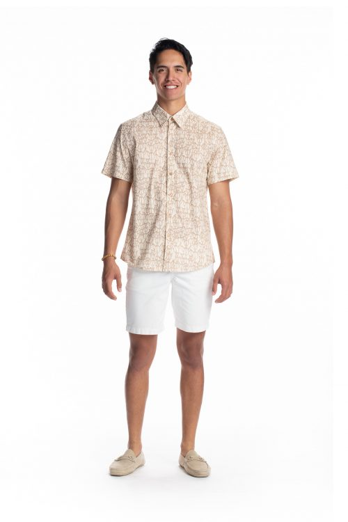 Male model wearing Aloha Short Sleeve in White Swan/Gingersnap - Front View