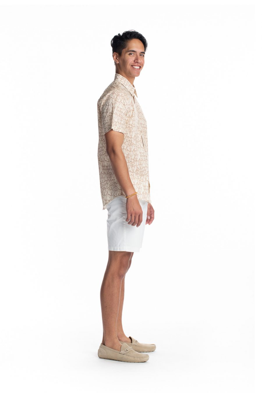 Male model wearing Aloha Short Sleeve in White Swan/Gingersnap - Side View