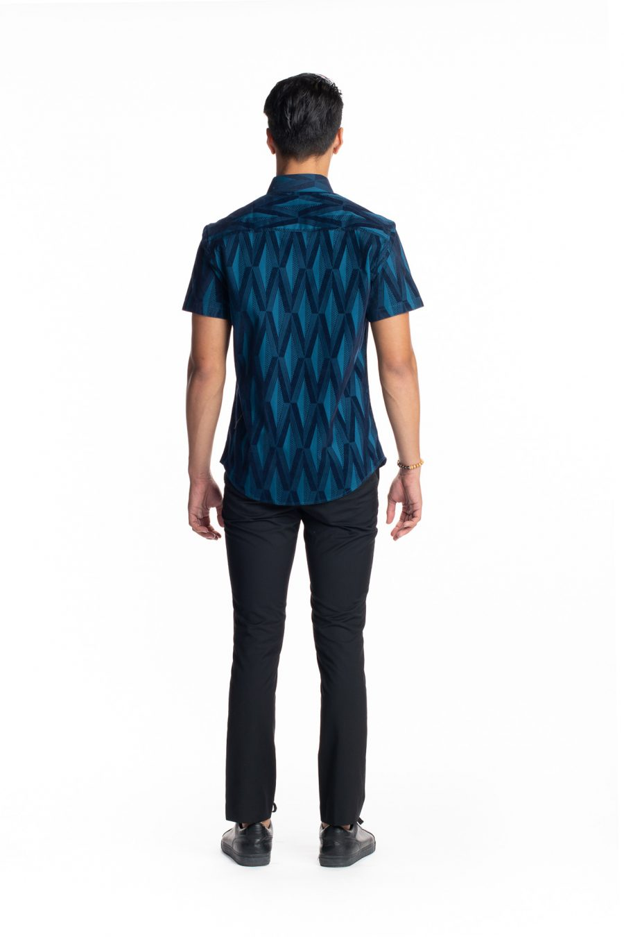 Male Model wearing Aloha Short Sleeve in Teal Kanaloa - Back View