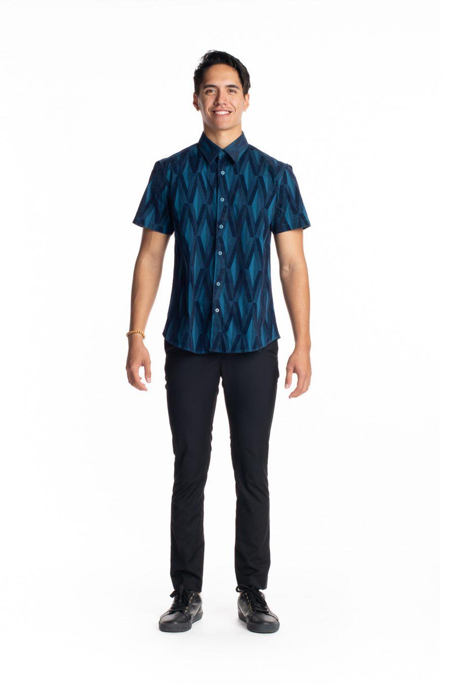 Male Model wearing Aloha Short Sleeve in Teal Kanaloa - Front View