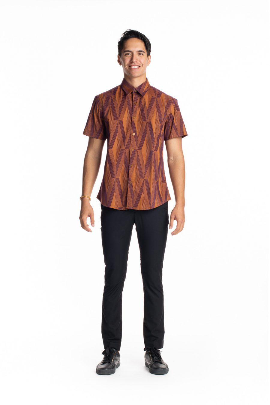 Male model wearing Aloha Short Sleeve in Mahagony Mustard Kanaloa - Front View