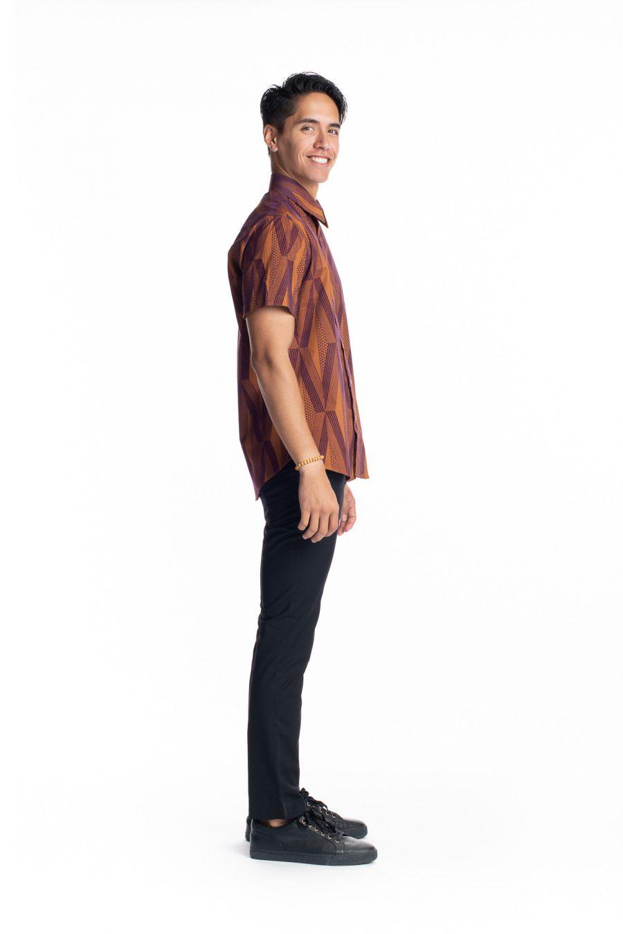 Male model wearing Aloha Short Sleeve in Mahagony Mustard Kanaloa - Side View