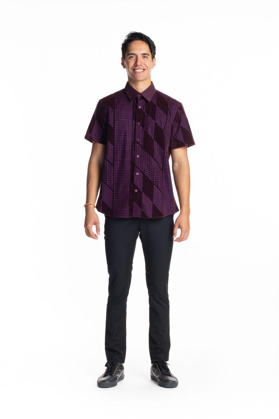 Male model wearing Aloha Short Sleeve in Purple Kamehameha - Front View