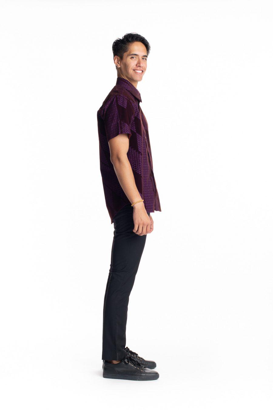 Male model wearing Aloha Short Sleeve in Purple Kamehameha - Side View