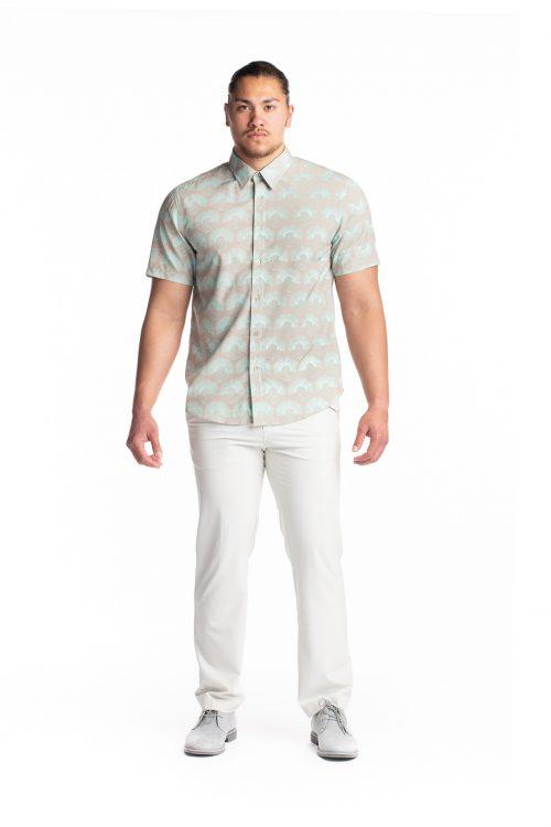 Male model wearing Waikii Polo in Cobblestone Kalihilehua - Front View