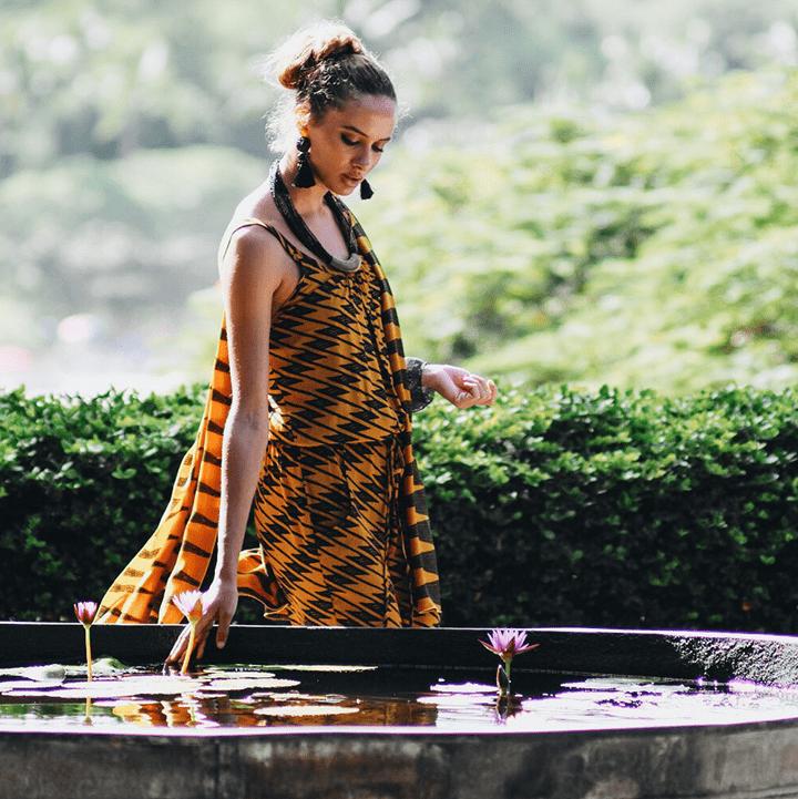 Model outside wearing Manaola Clothing