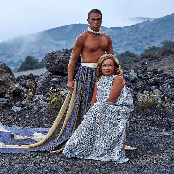 Male and female model outside, wearing Manaola Clothing