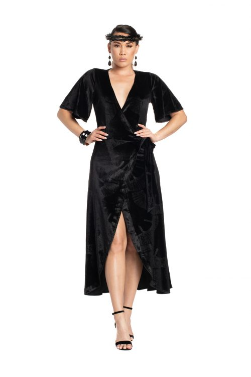 Model wearing Peahi Wrap Dress in Black - Front View