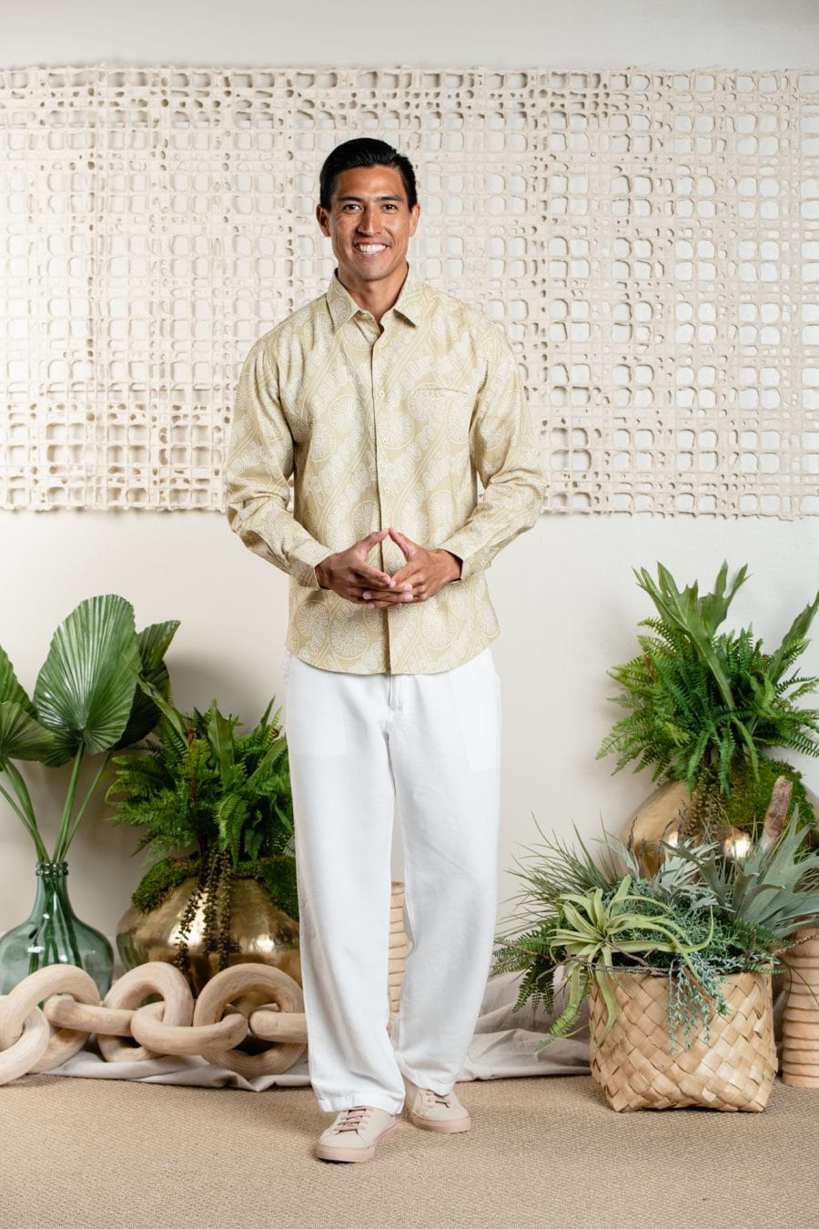 Male model wearing Aloha Long Sleeve in Sage Green Amau - Front View