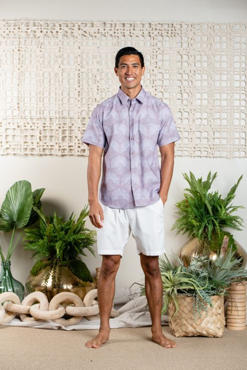 Male model wearing Aloha Short Sleeve in Kalihilehua - Front View